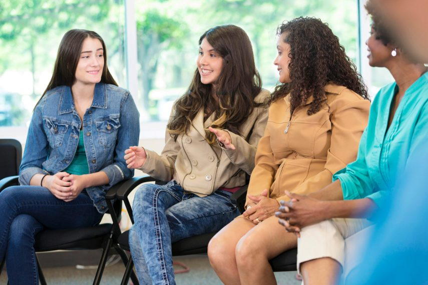 Women at addiction recovery group